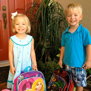 My niece and nephew as they head off to their first day of pre-school.  They love it!
